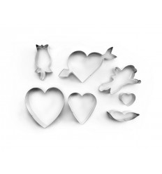 Set 7 Cortapastas San Valentin Estañados de Ibili