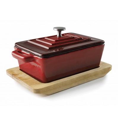 Cacerola rectangular con tapa Magma Red de Lacor