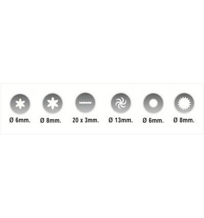 Set 6 boquillas variadas (rosa, cinta, h?lice y estrella)