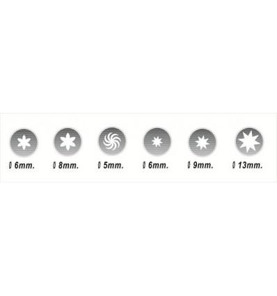 Set 6 boquillas variadas ( rosa, h?lice y estrella)